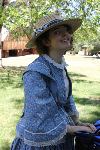 1850's Day Dress and Straw Hat